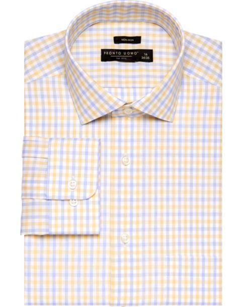 Pronto Uomo Yellow Check Dress Shirt - Men's Pronto Uomo Dress ...
