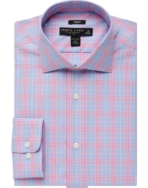 Pronto Uomo Pink & Blue Plaid Slim Fit Dress Shirt - Men's $369.99 ...