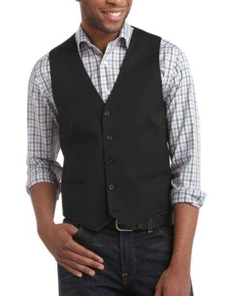 Egara Black Slim Fit Tailored Suit Separates Vest - Men's $289.99 ...