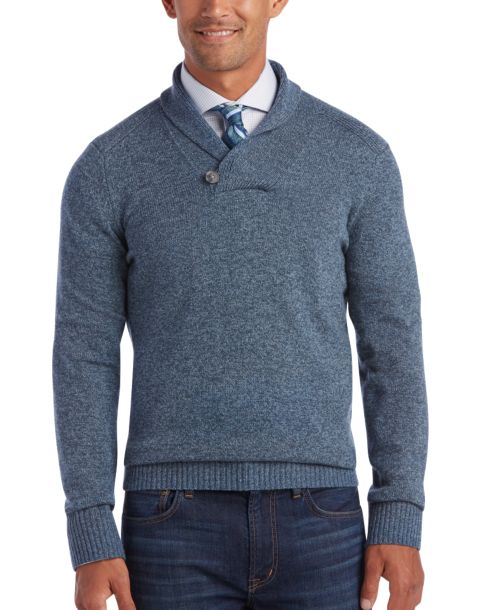 joseph abboud heather blue shawl collar sweater
