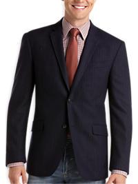 Pronto Blue Slim Fit Casual Coat, Navy Chalkstripe