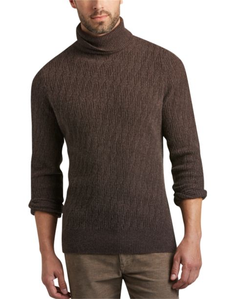 Joseph Abboud Brown Turtleneck Sweater Mens 36999 Designer