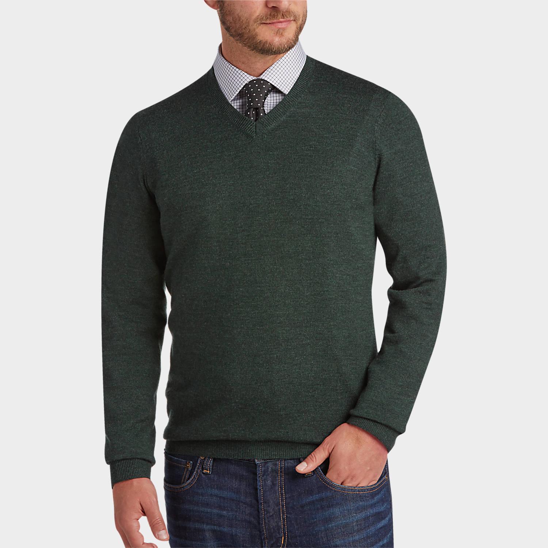 Joseph Abboud Dark Green V-Neck Merino Wool Sweater - Men's Modern ...