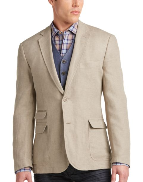Joseph Abboud Tan Linen Casual Coat - Men's Casual Coats   Men's ...