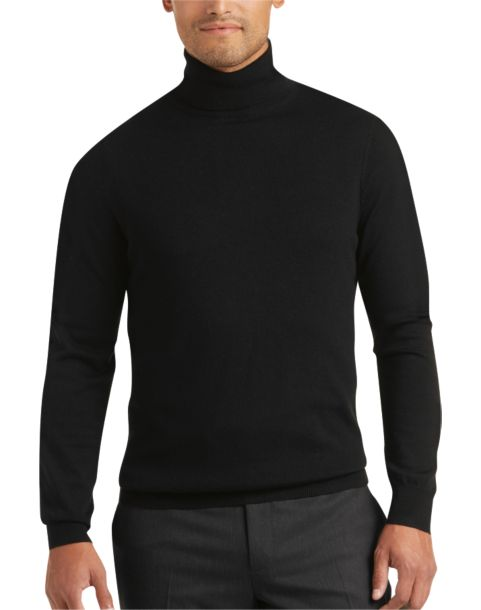 Joseph Abboud Black Turtleneck Merino Wool Sweater - Men's ...