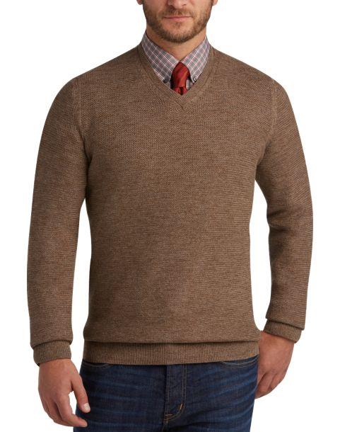 Joseph Abboud Light Brown V-Neck Sweater - Men's Modern Fit ...