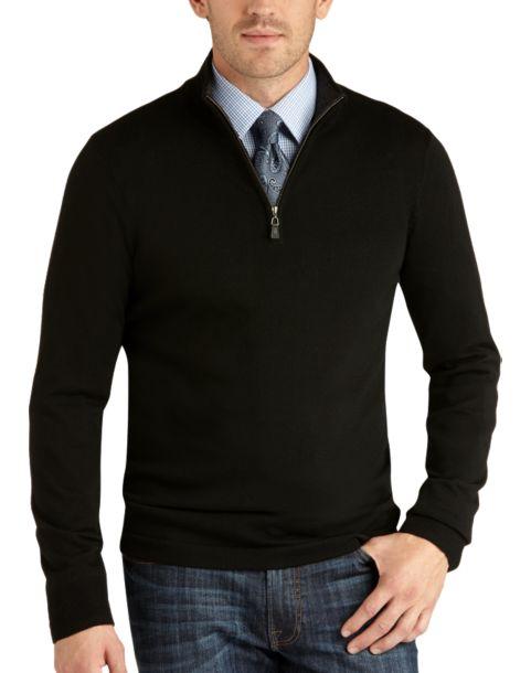 Joseph Abboud Black Half-Zip Merino Sweater - Men's Shirt & Tie ...