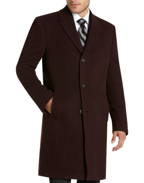 Kenneth Cole New York Burgundy Wool and Cashmere Slim Fit Topcoat ...