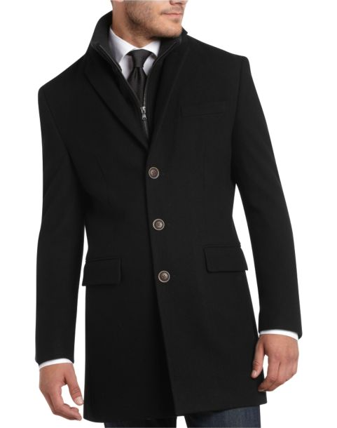 Egara Black Removable Bib Slim Fit Car Coat - Men's Clothing ...