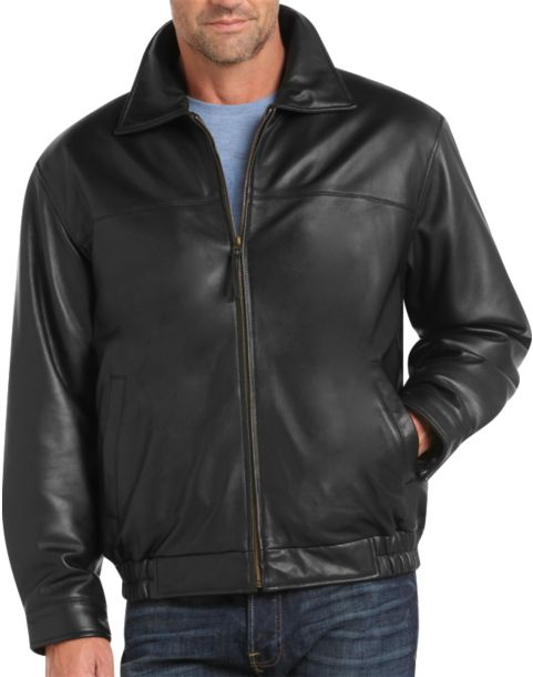 Joseph & Feiss Black Lambskin Leather Bomber Classic Fit Jacket ...