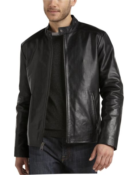 Marc New York Black Leather Modern Fit Motorcycle Jacket - Men's ...