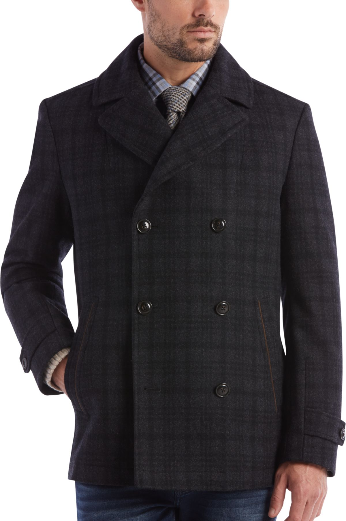Joseph Abboud Charcoal Plaid Slim Fit Peacoat - Men's Peacoats ...