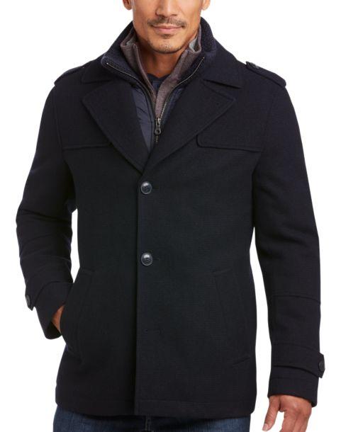 Egara Navy Modern Fit Car Coat - Men's Casual Jackets | Men's ...