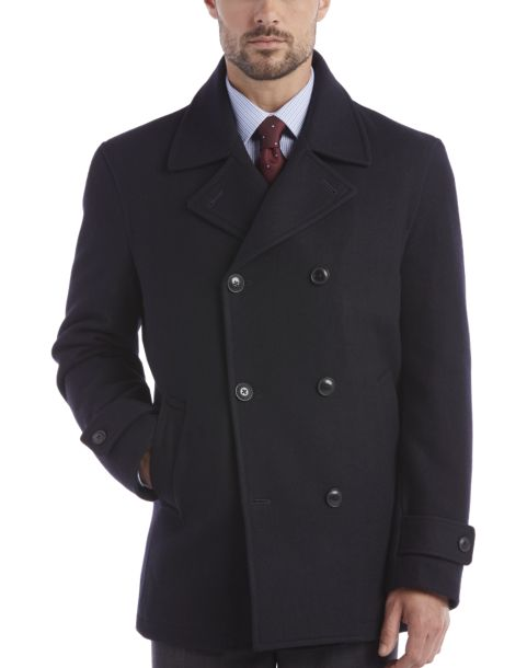 Egara Dark Navy Double-Breasted Modern Fit Peacoat - Men's ...