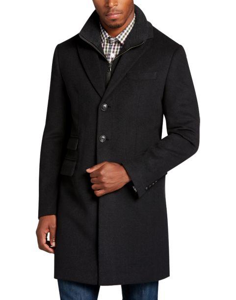 Egara Black Herringbone Modern Fit Car Coat - Men's 24 Hour Deal ...