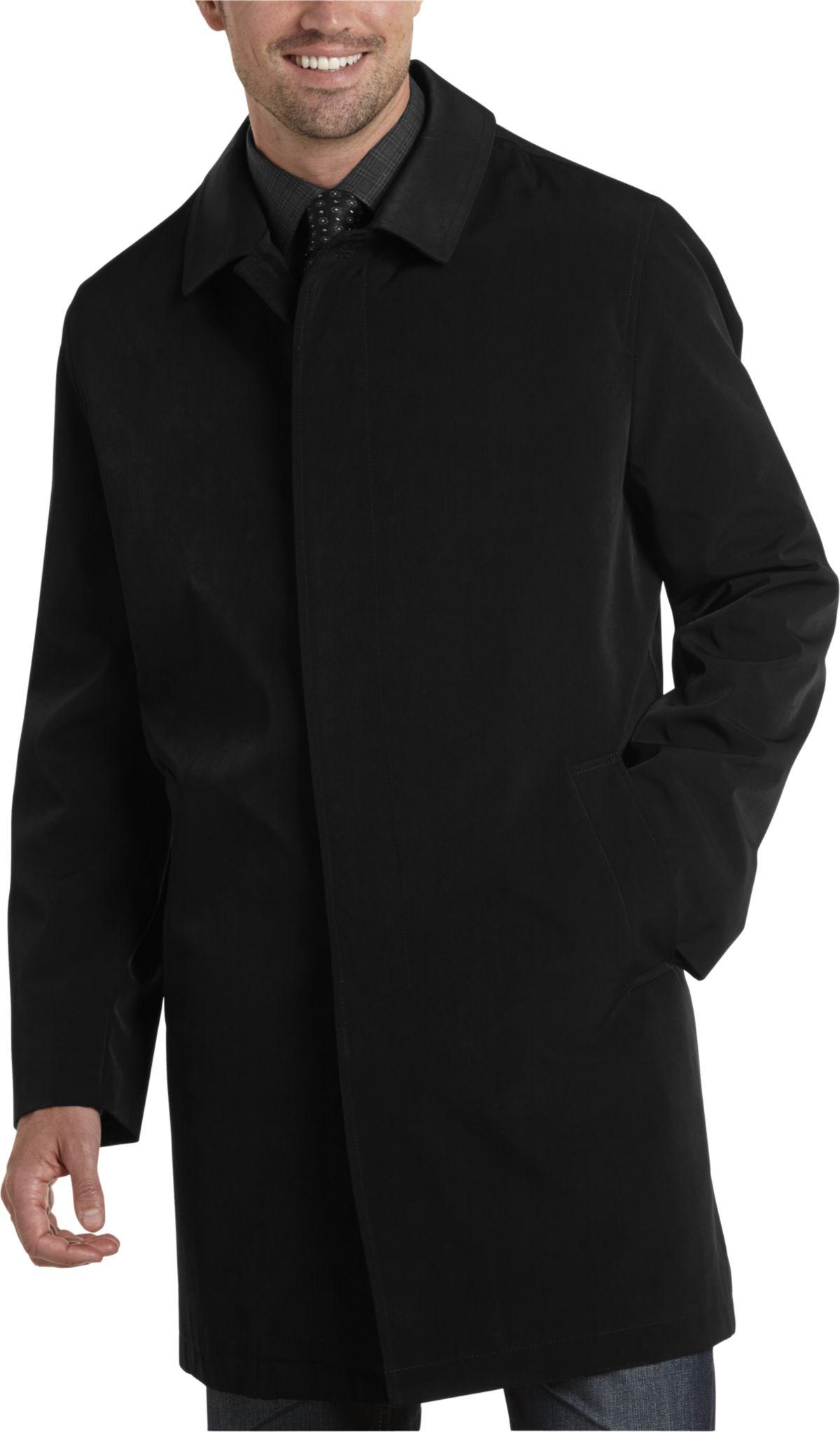 Black Classic Fit Raincoat - Men's Outerwear - Joseph Abboud ...