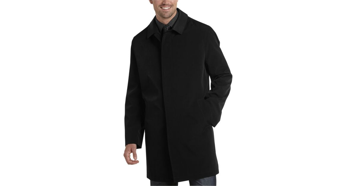 Black Classic Fit Raincoat - Men's Outerwear - Joseph Abboud ...