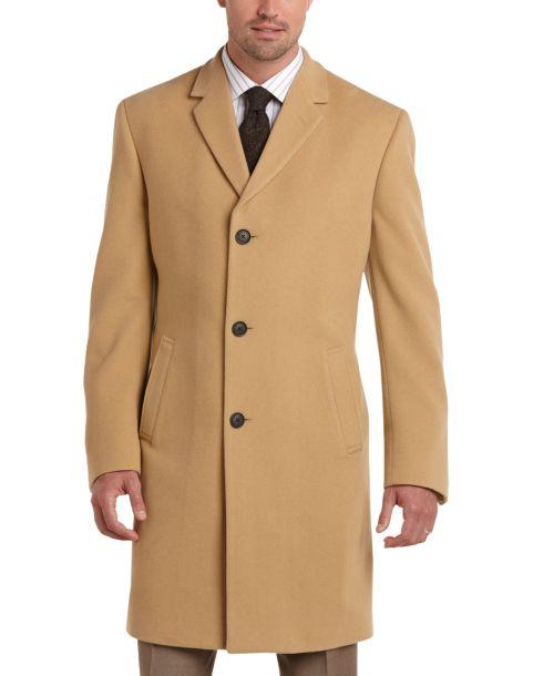 Joseph Abboud Camel Cashmere Blend Modern Fit Topcoat - Men's ...