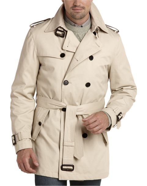 Joseph Abboud Tan Double Breasted Modern Fit Trench Coat - Men's ...