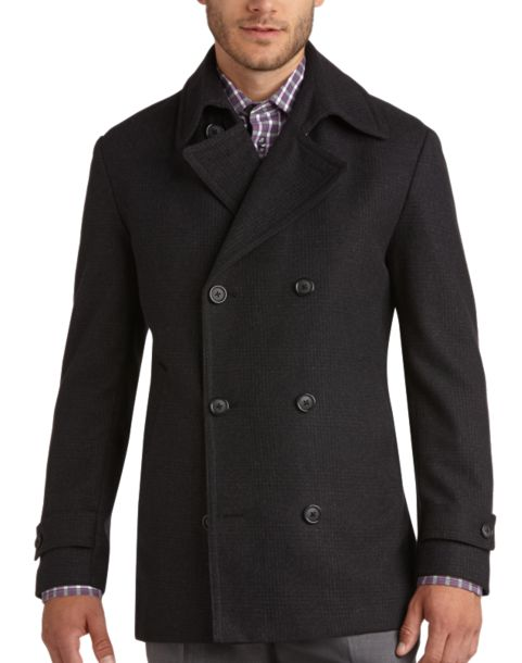 Pronto Uomo Charcoal Plaid Modern Fit Peacoat - Men's Peacoats ...