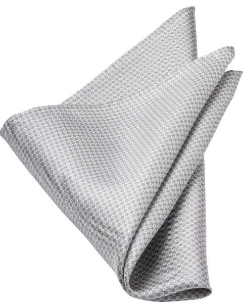 Joseph Abboud Silver Geometric Silk Pocket Square