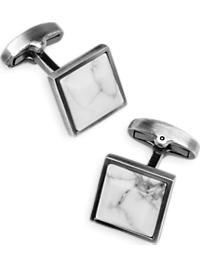 Joseph Abboud White Marble and Antique Silver Cufflinks