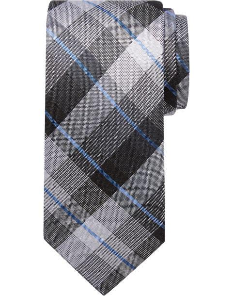 Pronto Uomo Gray & Blue Plaid Narrow Tie