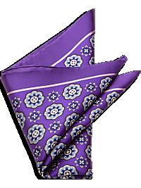 Purple Medallion Silk Pocket Square
