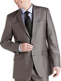 Kenneth Cole Charcoal Plaid Sharkskin Modern Fit Suit Separates Coat (Outlet)