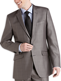 Kenneth Cole Charcoal Plaid Sharkskin Modern Fit Suit Separates Coat (Outlet)