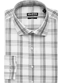 Kenneth Cole Unlisted Charcoal Plaid Slim Fit Dress Shirt (Outlet)
