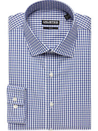 Kenneth Cole Unlisted Blue Check Chambray Slim Fit Dress Shirt (Outlet)
